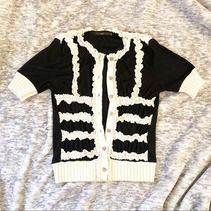 Hazel boutique cardigan sweater, lace detail, XS